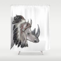 rhino Shower Curtains featuring rhino by Svenningsenmoller Design