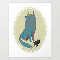 dog Art Prints featuring dog by yohan sacre