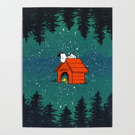 snoopy camp in the night Poster