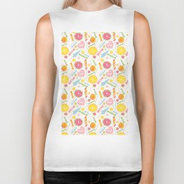 Abstract hand painted yellow pink orange sweets fruit pattern Biker Tank