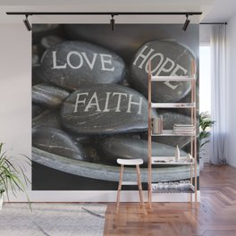 Love Faith Hope Christian Quote Black Pebble Embossing Wall Mural
