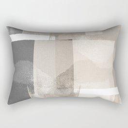 "Grey and Beige Minimalist Geometric Abstract ""Building Blocks"" Rectangular Pillow"