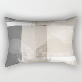 "Grey and Beige Minimalist Geometric Abstract ""Building Blocks"" Rectangular Pillow"