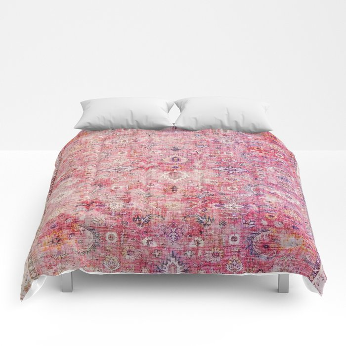 N45 - Pink Vintage Traditional Moroccan Boho & Farmhouse Style Artwork. Comforters