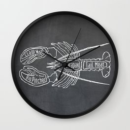 Lobster Butcher Diagram (Seafood Meat Chart) Wall Clock