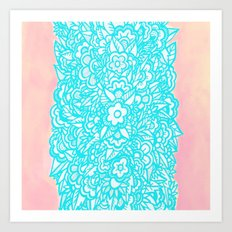 Illustrated Flowers and Leaves - turquoise blue, pink, white Art Print