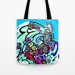 Wipe out! Gnarly surfing skeleton Tote Bag