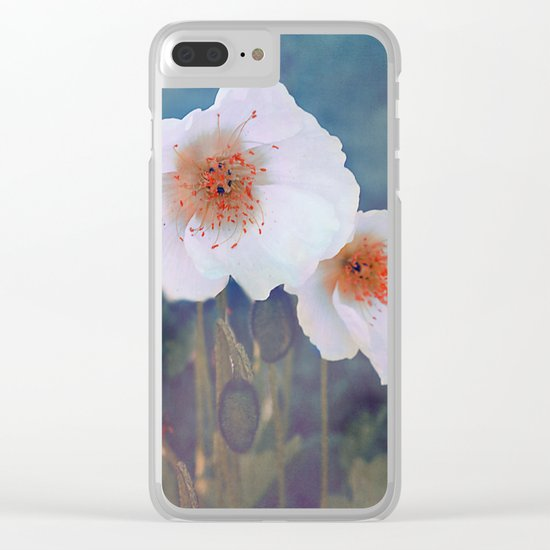 White poppies(2) Clear iPhone Case
