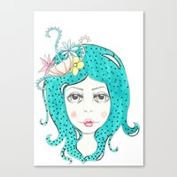 polkadot Canvas Prints featuring Polkadot Girl by Lisa Bulpin