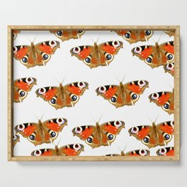 Beautiful Peacock Butterflies On A White Background #decor #society6 Serving Tray