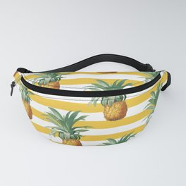 Pineapples Yellow Stripes Chic Beach Fanny Pack