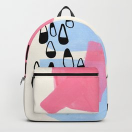 Fun Colorful Abstract Mid Century Minimalist Pink Periwinkle Cow Udder Milk Organic Shapes Backpack