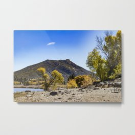 Autumn Colors in the Trees with a Mountain in the Background at Lake Cuyamaca, California Metal Print