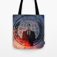 anonymous Tote Bags featuring Anonymous by Sney1
