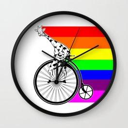 Giraffe riding a bike lgbq Wall Clock