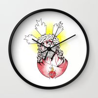 christ Wall Clocks featuring Christ by Morgan Soto