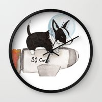 corgi Wall Clocks featuring Space Corgi by scoobtoobins