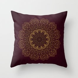 Gold Mandala on Royal Red Background Throw Pillow