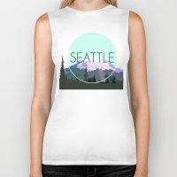 seattle Biker Tanks featuring SEATTLE by Lauren Jane Peterson