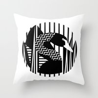 black swan Throw Pillows featuring black swan by Gray