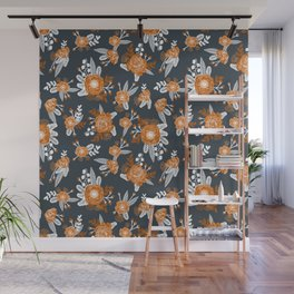 Texas longhorns orange and white university college texan football floral pattern Wall Mural