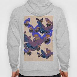 BLUE-PUCE PURPLE  BUTTERFLIES  CREAM COLOR ART Hoody