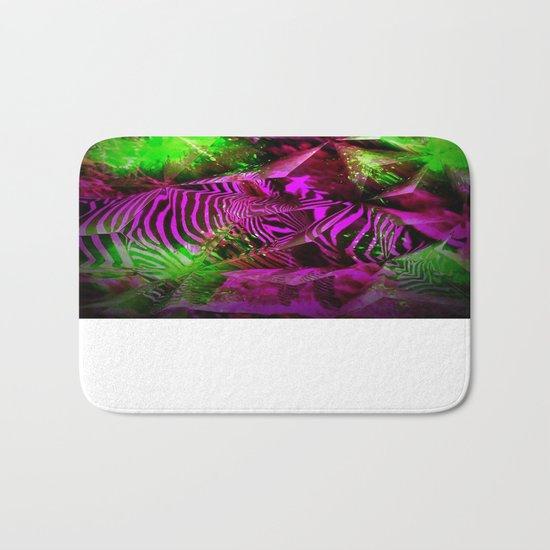 Pink Zebra Abstract Bath Mat