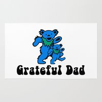 grateful dead Area & Throw Rugs featuring Grateful Dad 2.0 by Grace Thanda