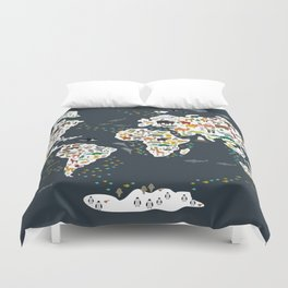 Cartoon animal world map for kids, back to schhool. Animals from all over the world Duvet Cover