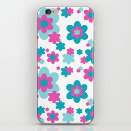 Teal Blue and Hot Pink Floral iPhone Skin
