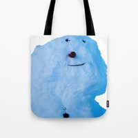 snowman Tote Bags featuring Snowman  by AstridJN