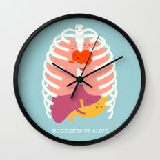 Hugs keep us alive Wall Clock