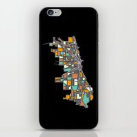 chicago map iPhone & iPod Skins featuring Chicago by BigRedSharks