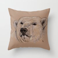 polar bear Throw Pillows featuring Polar Bear by Ursula Rodgers