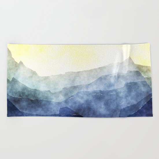 Sun behind the mountains - Modern abstract triangle pattern Beach Towel