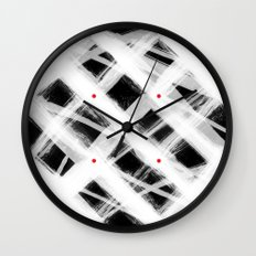 Dotted Grid with Brush Strokes Black Wall Clock