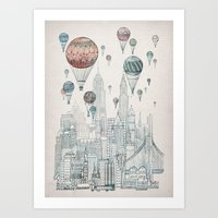 balloons Art Prints featuring Voyages Over New York by David Fleck
