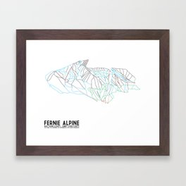Fernie, British Columbia, Canada - Minimalist Trail Maps Framed Art Print