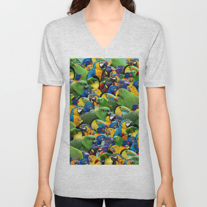 Parrots Print Green Birds Pattern Tropical Print Unisex V-Neck