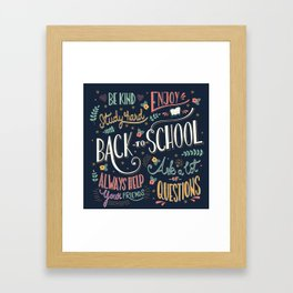 Back to school colorful typography drawing on blackboard with motivational messages, hand lettering Framed Art Print