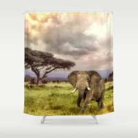 novelty Shower Curtains featuring Elephant Landscape Collage by Moody Muse