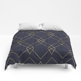 Gold Geometric Navy Blue Comforters