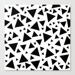 Memphis Milano style pattern with triangles, black and white triangle pattern print Canvas Print