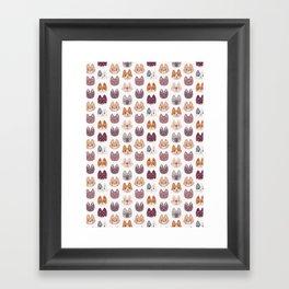 Cute Kitty Cat Faces Pattern Framed Art Print