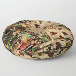 Abstract Vintage Playing cards  Digital Art Floor Pillow