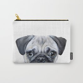 pug Dog illustration original painting print Carry-All Pouch