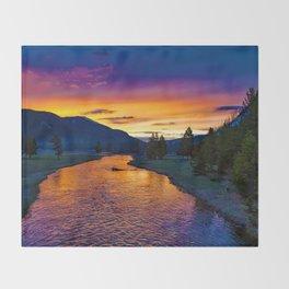 Sundown At Yellowstone Throw Blanket