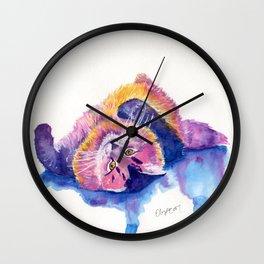 Colorful Watercolor Cat Wall Clock