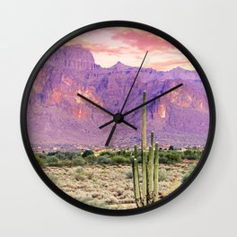 Cactus Sunset #digitalart #nature Wall Clock