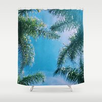 palm trees Shower Curtains featuring PALM TREES by C O R N E L L